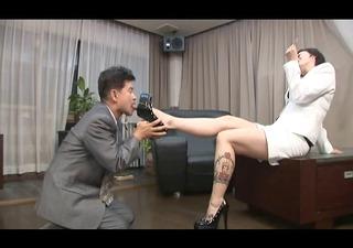 asian foot femdom smokin with cigarette holder